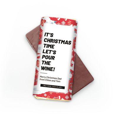 Cadeau voor papa - Personaliseerbare rode wijn chocolade