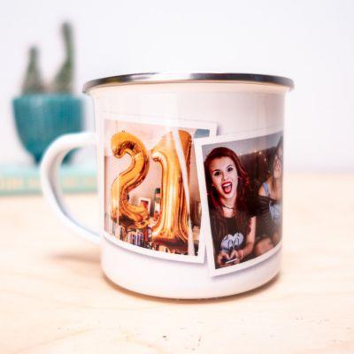 Cadeau voor vriendin - Personaliseerbare Metalen Mok met foto's
