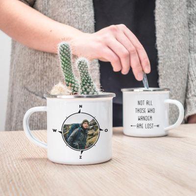 Foto cadeaus - Personaliseerbare metalen mok met foto kompas