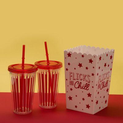 Kopjes & glazen - Bioscoop set met popcorn emmer en drinkbeker