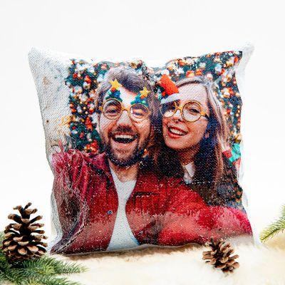 Gepersonaliseerde kussens - Personaliseerbaar glitter kussensloop met foto
