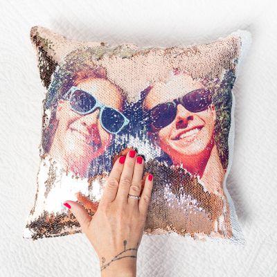 Gepersonaliseerd cadeau - Personaliseerbaar glitter kussensloop met foto