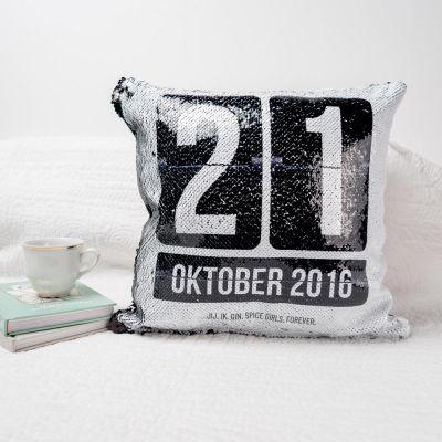 Gepersonaliseerde kussens - Personaliseerbaar pailletten kussensloop met datum