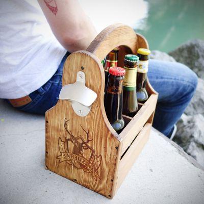 Bier cadeau - Houten sixpack
