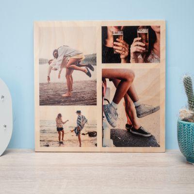 Valentijnscadeau voor hem - Personaliseerbare foto op hout met 4 foto's
