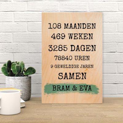 Gepersonaliseerde houten cadeaus - Personaliseerbare tekst op hout – jubileum