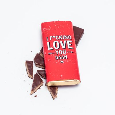 Exclusieve chocolade - Personaliseerbare chocolade – I f*cking love you