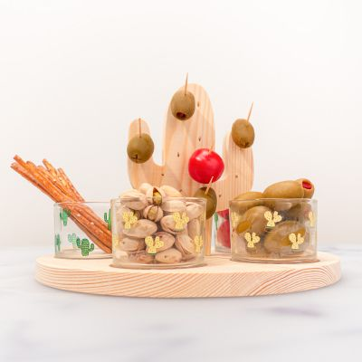 Verjaardagscadeau voor moeder - Cactus aperitief set met glazen en stokjes