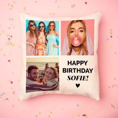 Cadeau voor zus - Personaliseerbare kussensloop met 3 foto's en tekst