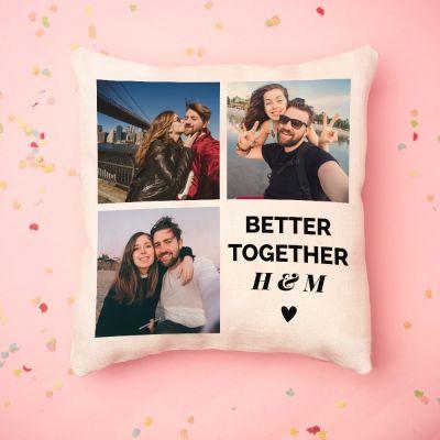 Gepersonaliseerde kussens - Personaliseerbare kussensloop met 3 foto's en tekst