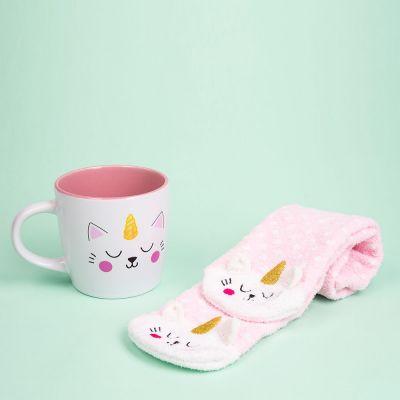 Cadeau voor zus - Kittycorn sokken en mok