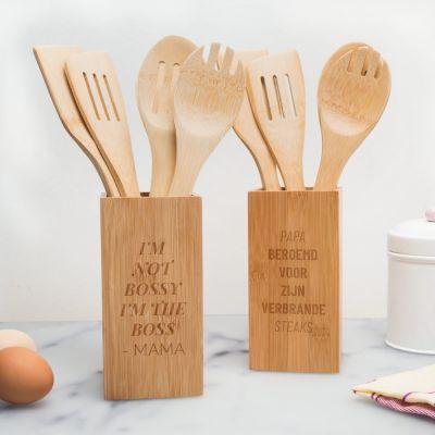 Moederdag cadeau - Personaliseerbare keukengerei houder met tekst