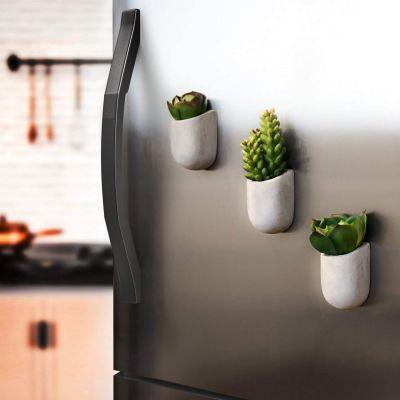 Decoratie - Magnetische Mini Bloempotten van Beton – set van 3