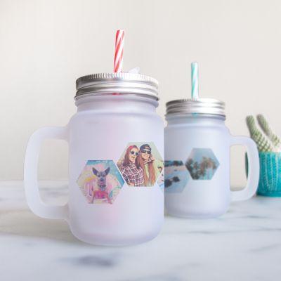 Verjaardagscadeau voor haar - Personaliseerbaar drinkglas met 4 foto's
