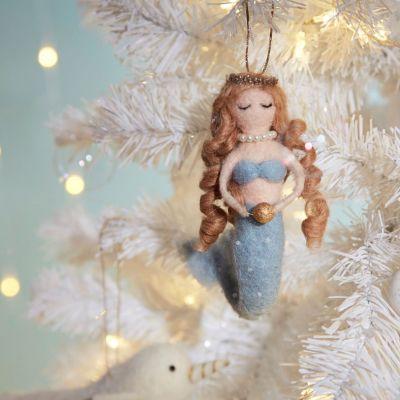 Sinterklaas surprise - Zeemeermin kerstversiering met parel