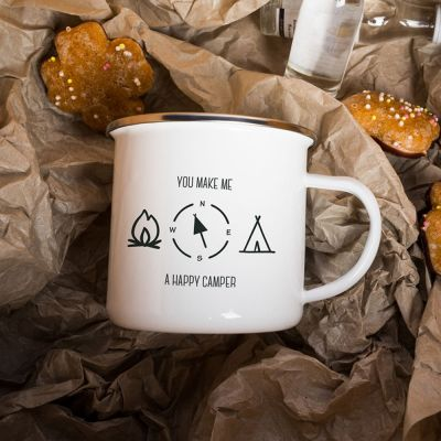 Exclusieve mokken en glazen - Metalen mok - Happy Camper