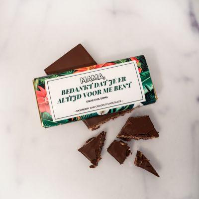 Moederdag cadeau - Personaliseerbare chocolade met bloempatroon en tekst