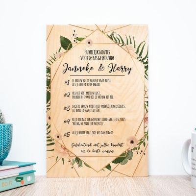 Huwelijkscadeau - Personaliseerbaar goed advies op hout