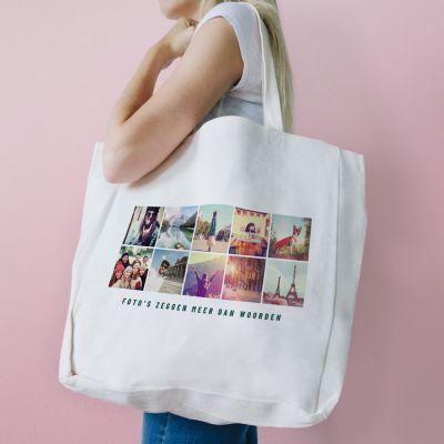 Cadeau voor haar - Personaliseerbare tas met 10 afbeeldingen en tekst