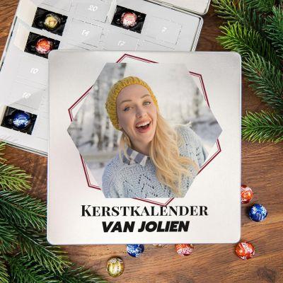 Romantisch cadeau - Adventskalender – Metalen pralinedoosje met tekst en foto