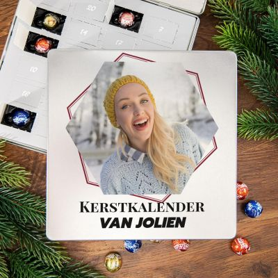 Snoepgoed - Adventskalender – Metalen pralinedoosje met tekst en foto