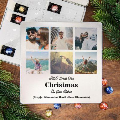 Gepersonaliseerde snoep - Adventskalender – Metalen pralinedoosje met 6 foto's en tekst