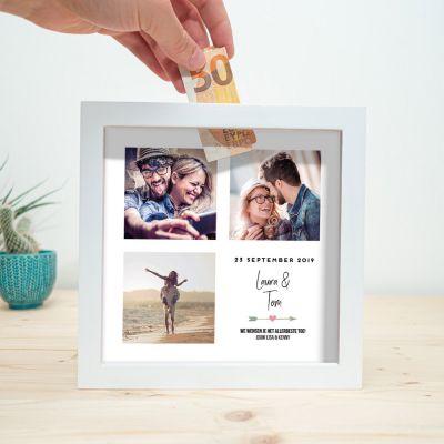 Exclusieve houten cadeaus - Personaliseerbare spaarpot voor bruiloft