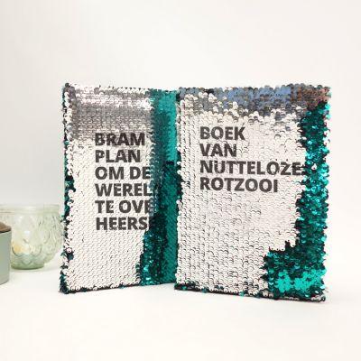 Boeken - Personaliseerbaar pailletten notitieboek