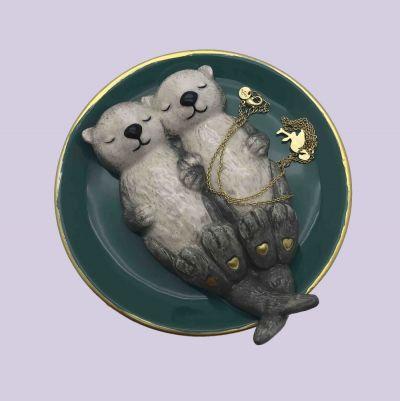 Verliefde otters juwelenschaaltje