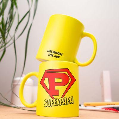 Cadeau voor papa - Personaliseerbare neon mok superpapa