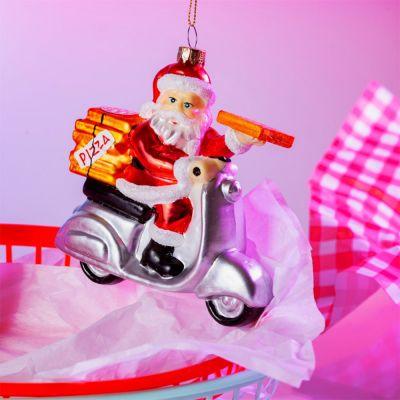 Decoratie - Santa pizzacourier Kerstboomversiering