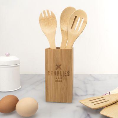 Exclusieve houten cadeaus - Personaliseerbare keukengerei houder restaurant