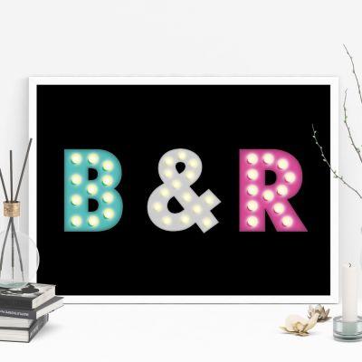 Decoratie - Personaliseerbare poster met gekleurde initialen