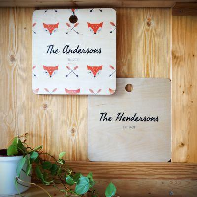 Exclusieve houten cadeaus - Personaliseerbaare snijplank voor koppels