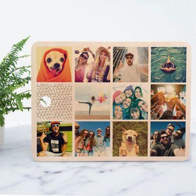Exclusieve houten cadeaus - Personaliseerbare snijplank met 11 afbeeldingen