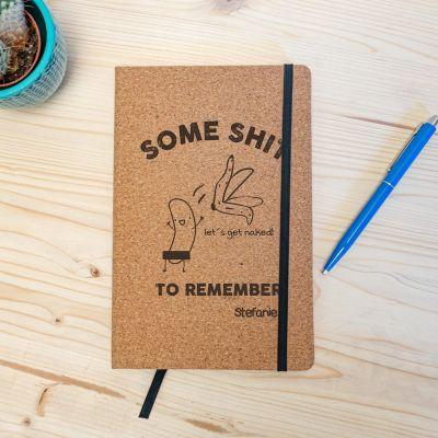 Boeken - Personaliseerbaar kurken notitieboek – Some Shit