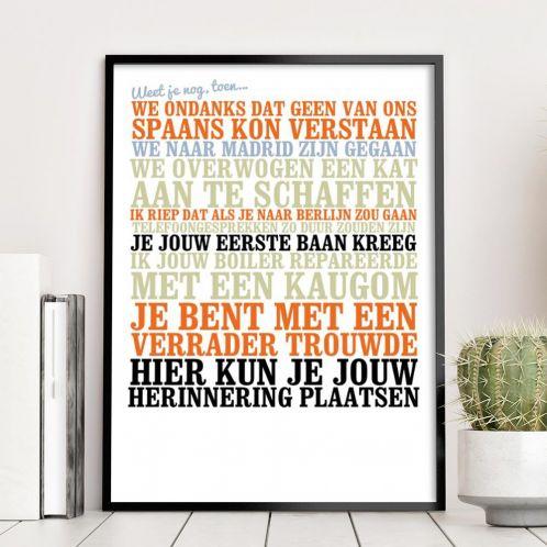 Cadeauboxen - Weet je nog, toen... - personaliseerbare poster