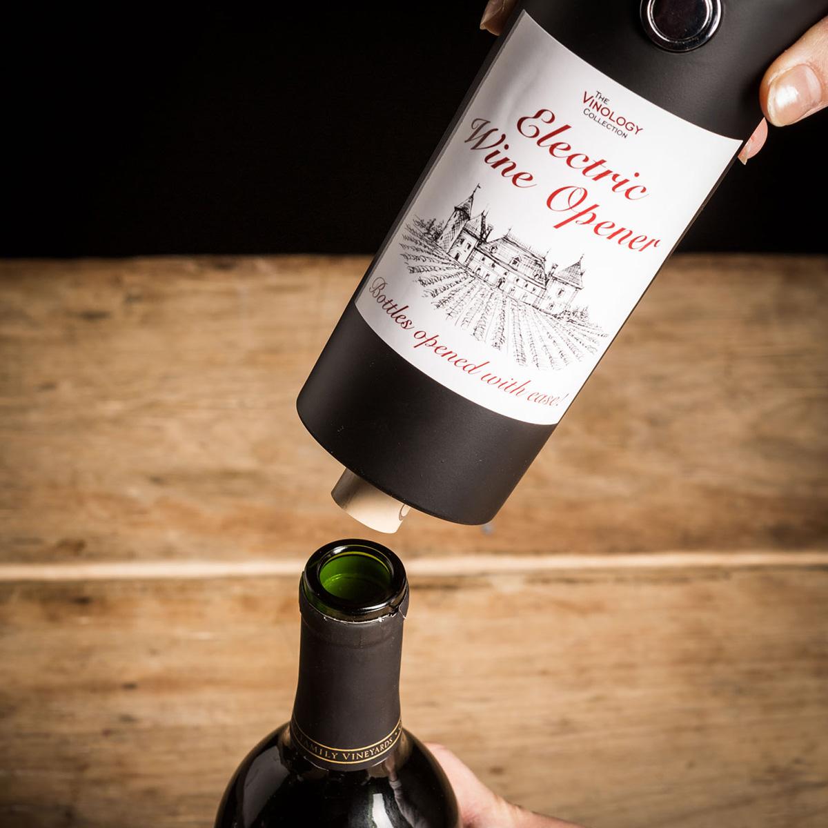 Elektrische wijnopener in wijnfles design
