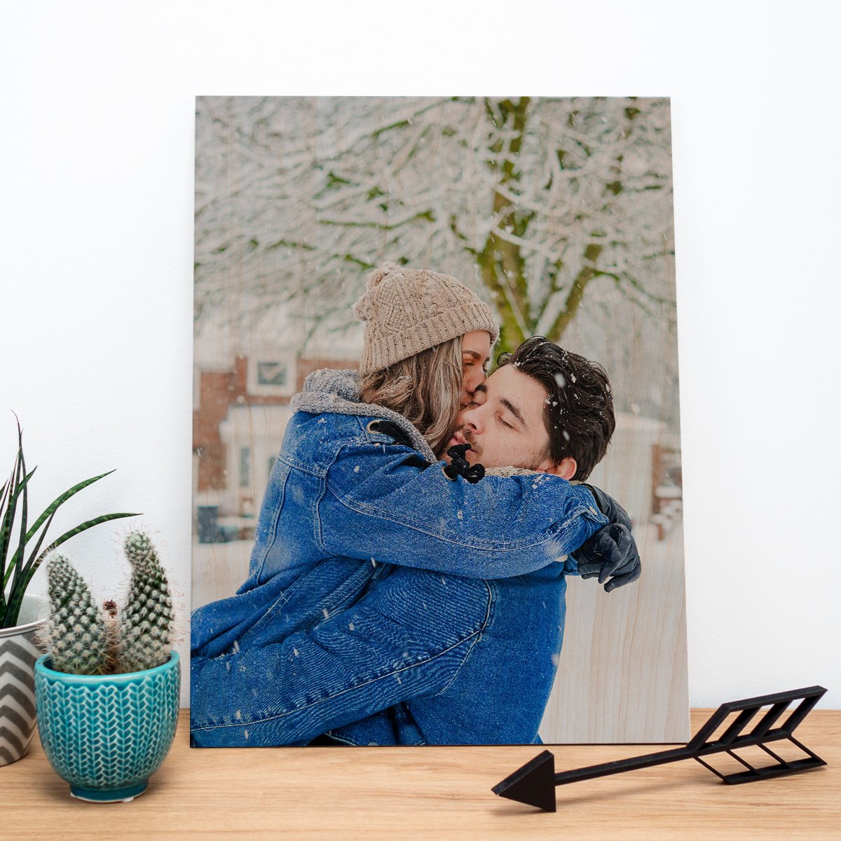 kerstcadeau voor haar - personaliseerbare foto op hout