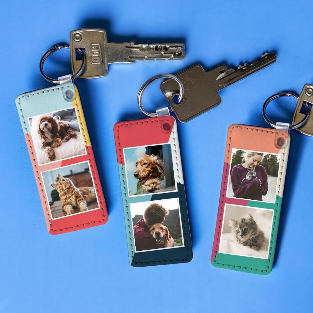 Huisdieren cadeau personaliseerbare sleutelhanger met 2 afbeeldingen