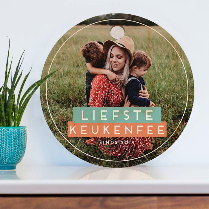 moederdag cadeau Ronde personaliseerbare snijplank met foto en tekst
