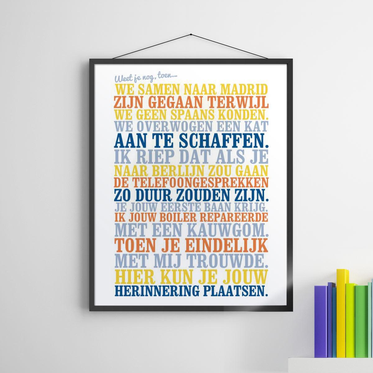 cadeau voor haar - personaliseerbare poster - weet je nog